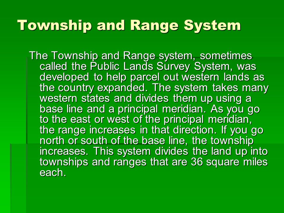 Township and Range System