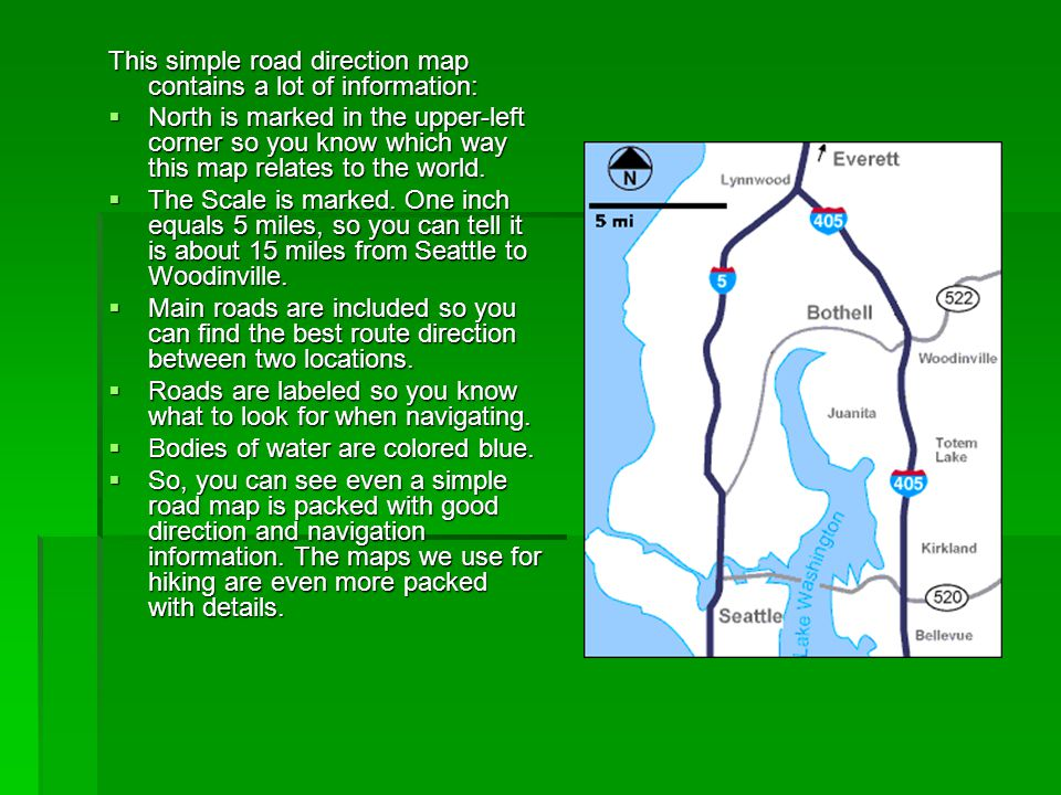 This simple road direction map contains a lot of information: