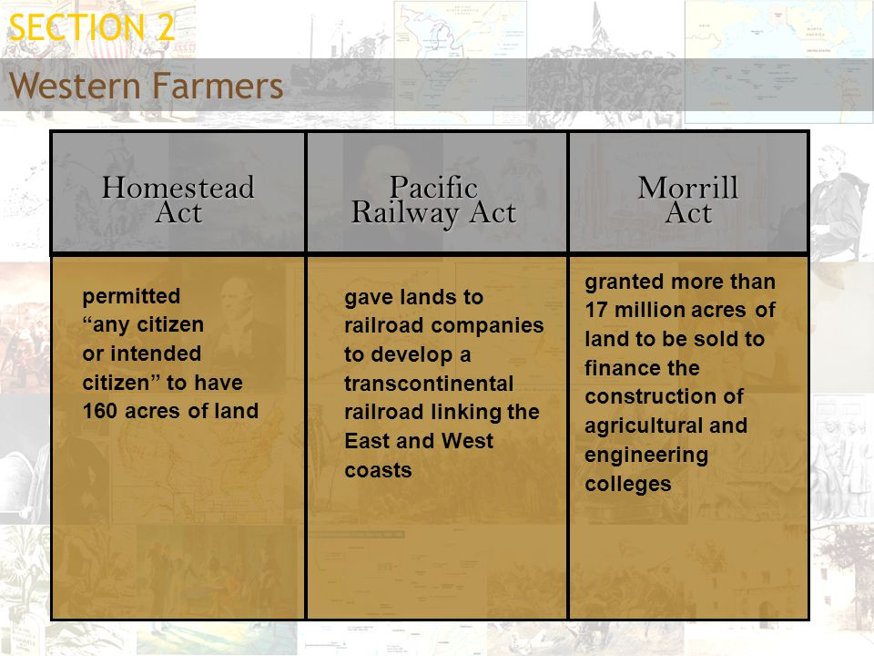 SECTION 2 Western Farmers Homestead Act Pacific Railway Act