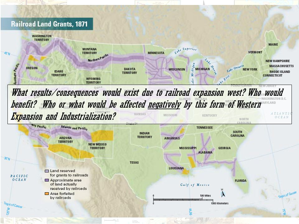 What results/consequences would exist due to railroad expansion west