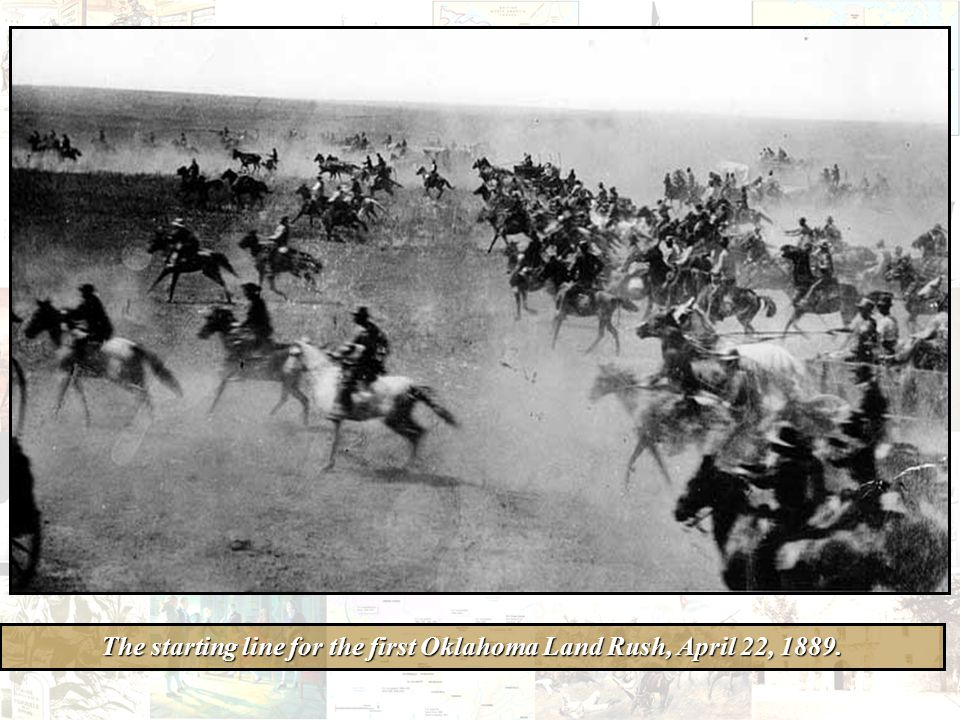 The starting line for the first Oklahoma Land Rush, April 22, 1889.