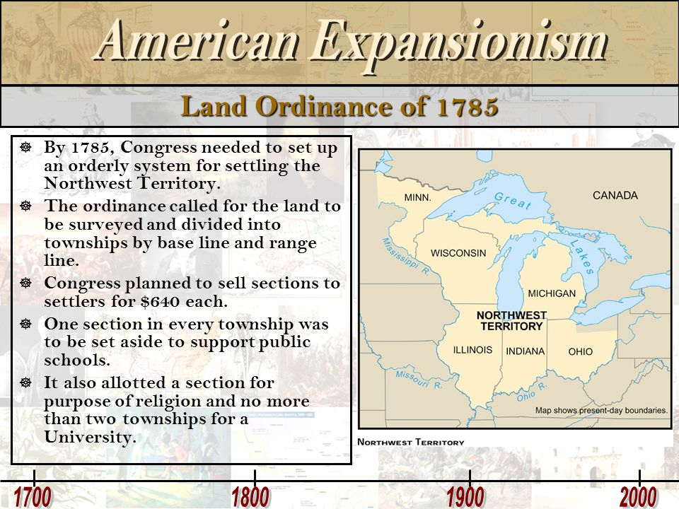 Land Ordinance of 1785 By 1785, Congress needed to set up an orderly system for settling the Northwest Territory.