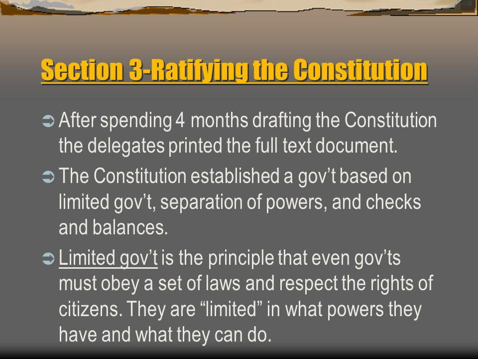 Section 3-Ratifying the Constitution