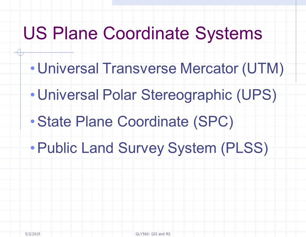US Plane Coordinate Systems