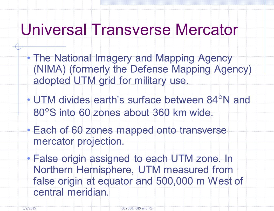 27 Universal Transverse Mercator The National Imagery And Mapping Agency