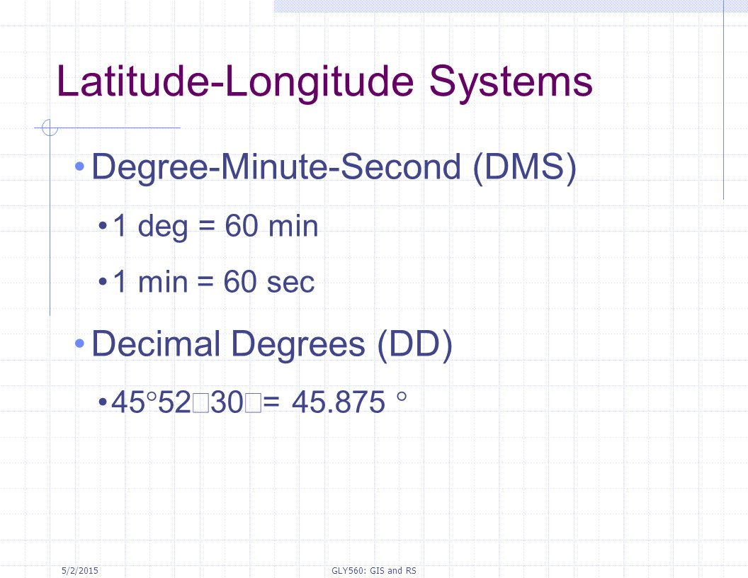 Latitude-Longitude Systems