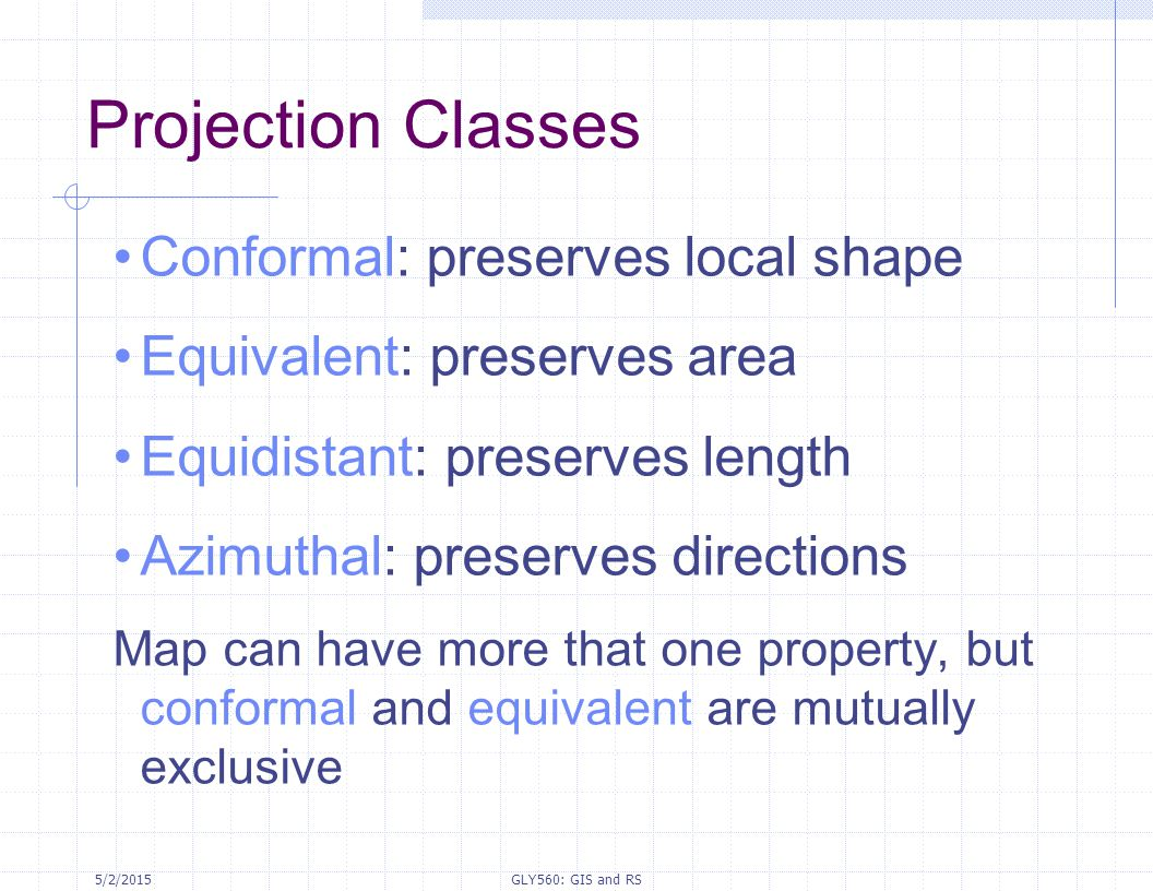 Projection Classes Conformal: preserves local shape