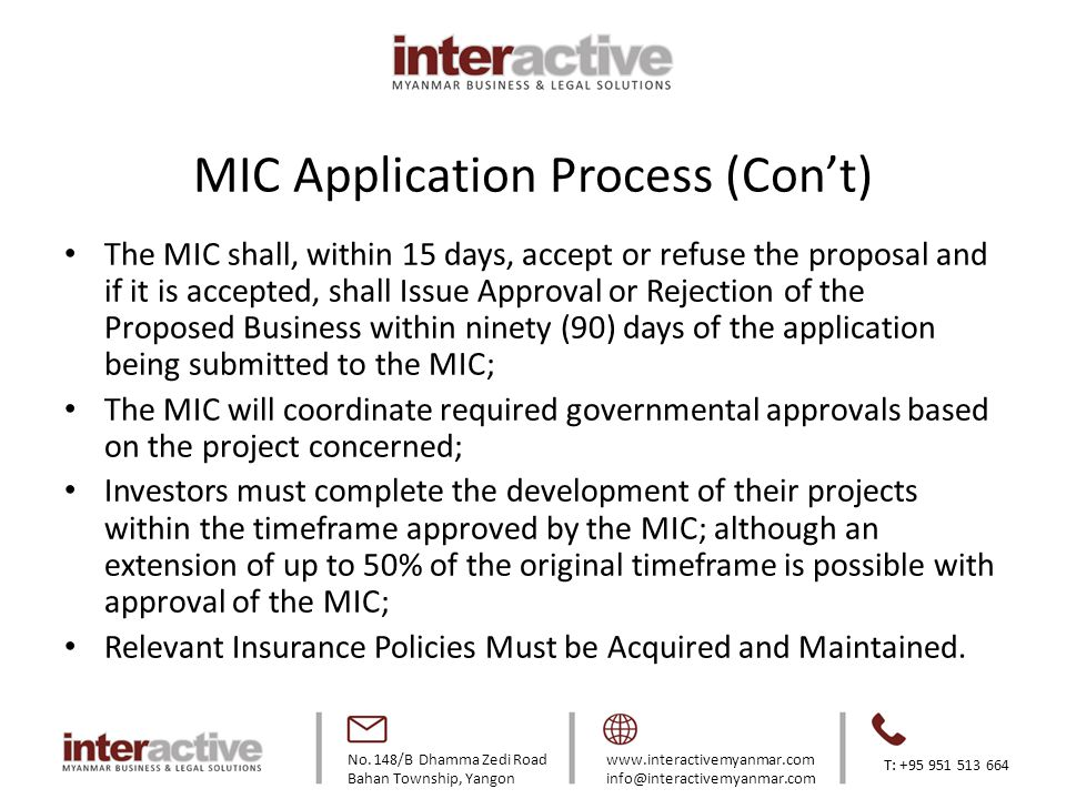 MIC Application Process (Con't)