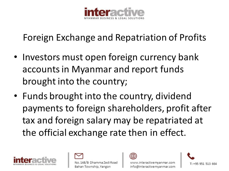 Foreign Exchange and Repatriation of Profits