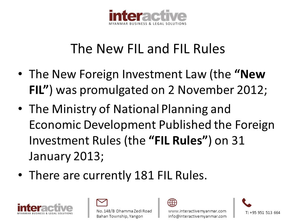The New FIL and FIL Rules