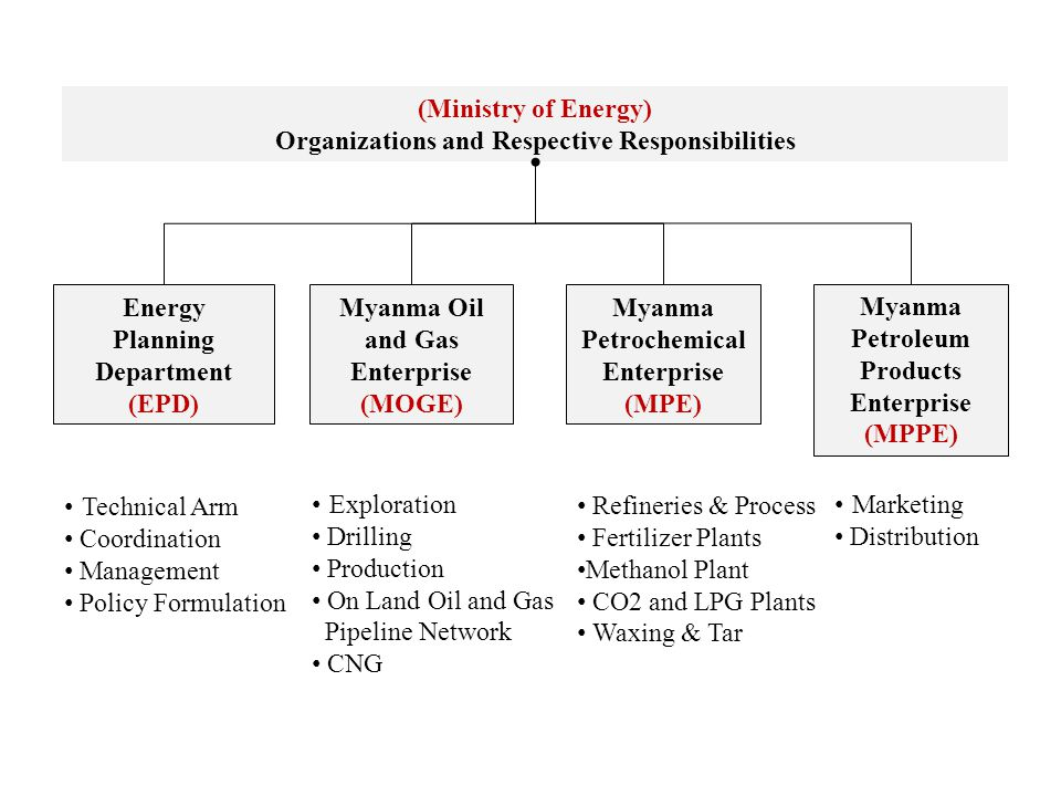 Organizations and Respective Responsibilities