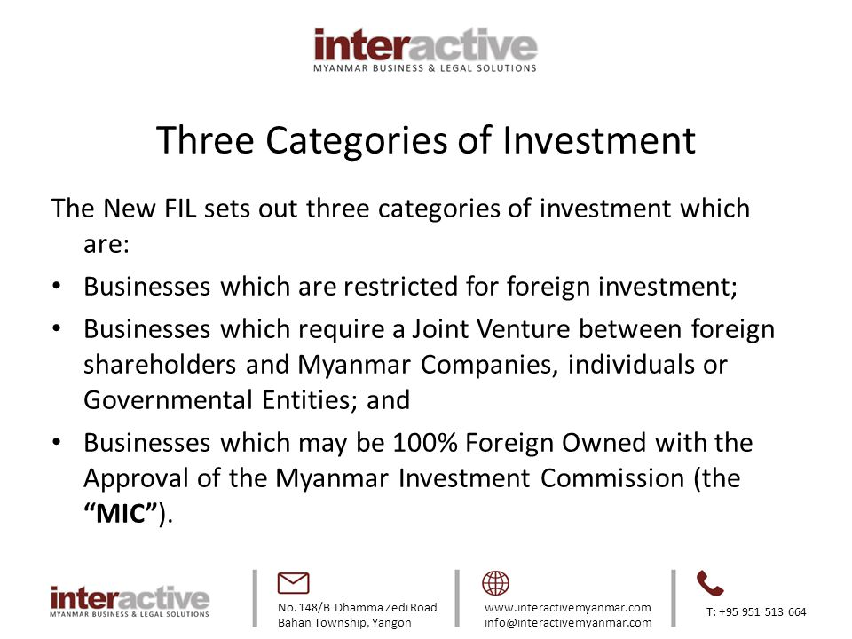 Three Categories of Investment