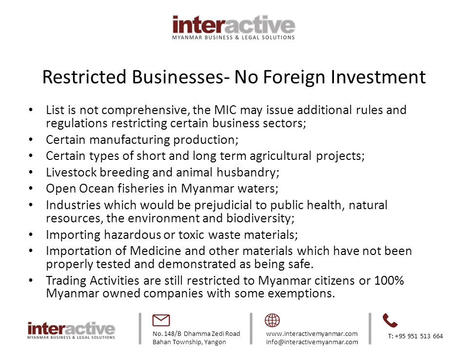 Restricted Businesses- No Foreign Investment