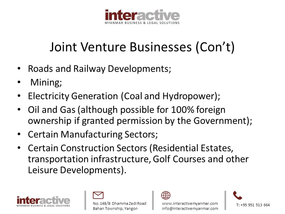 Joint Venture Businesses (Con't)