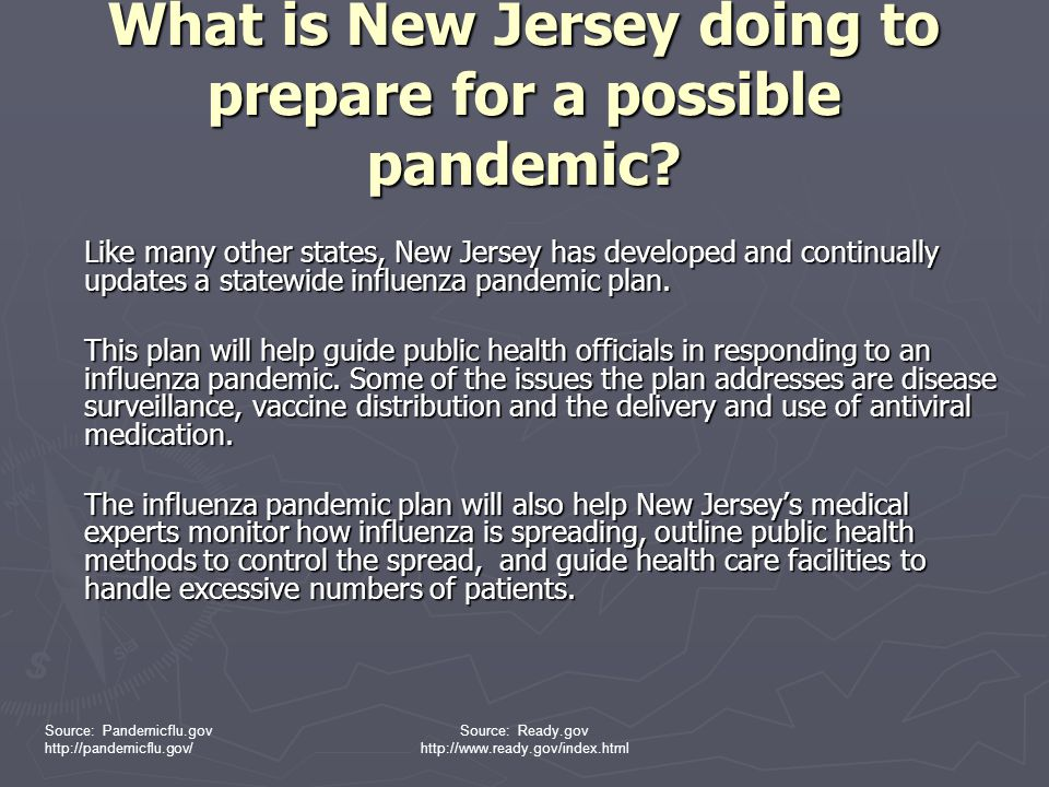 What is New Jersey doing to prepare for a possible pandemic