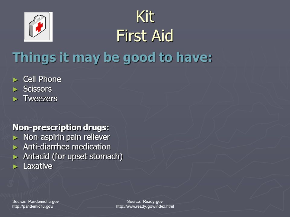 Kit First Aid Things it may be good to have: Cell Phone Scissors