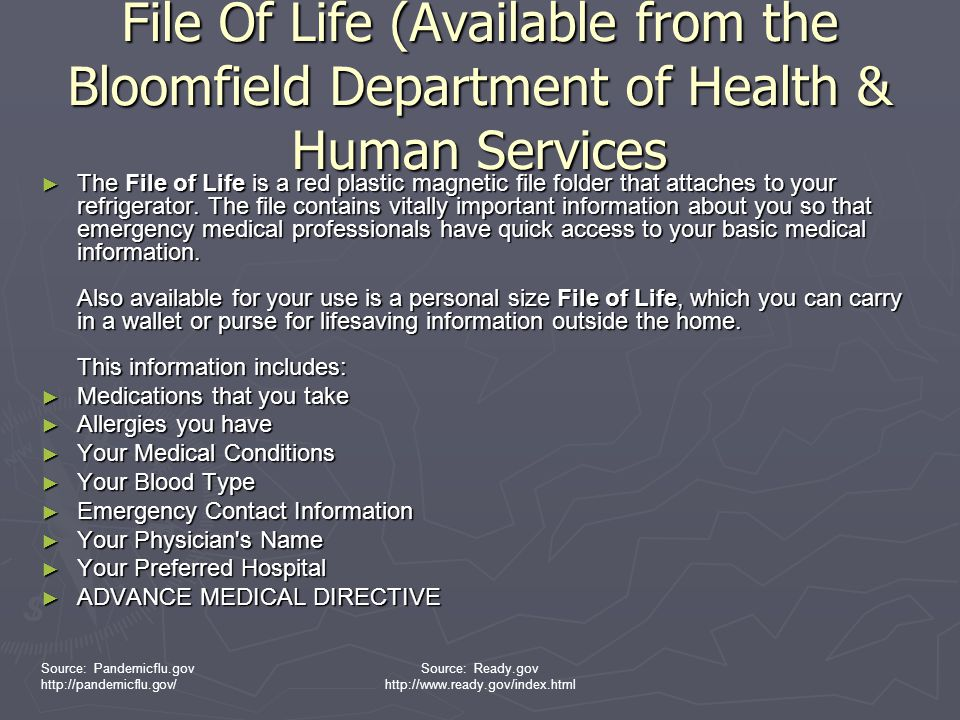 File Of Life (Available from the Bloomfield Department of Health & Human Services