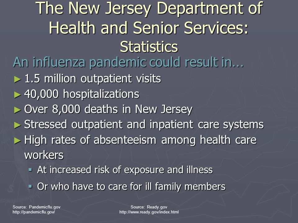 The New Jersey Department of Health and Senior Services: Statistics