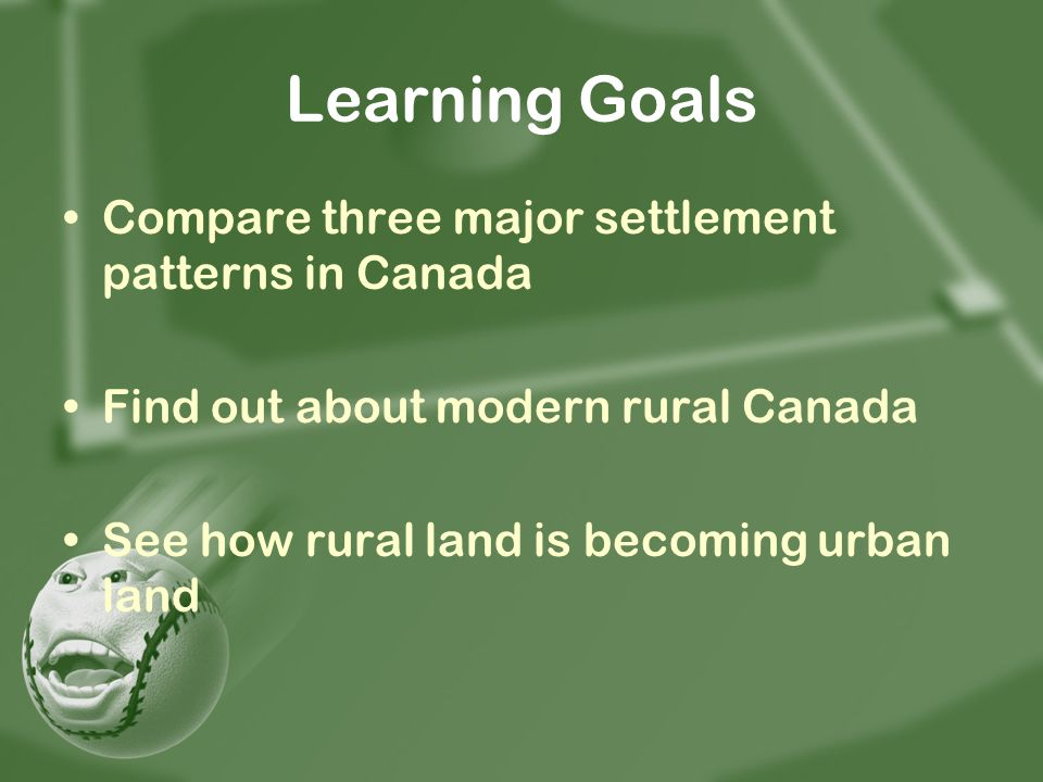 Learning Goals Compare three major settlement patterns in Canada