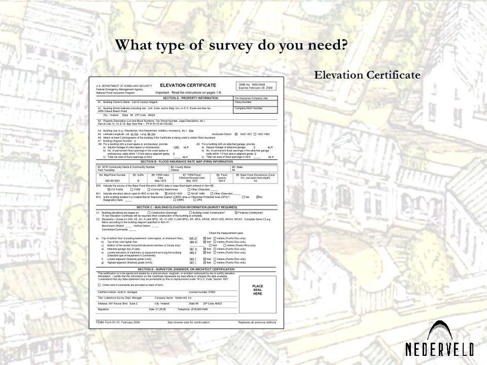 What type of survey do you need Elevation Certificate