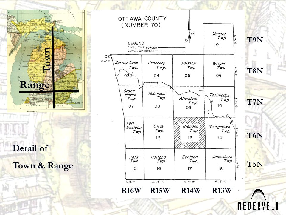 Town Range Detail of Town & Range T9N T8N T7N T6N T5N R16W R15W R14W