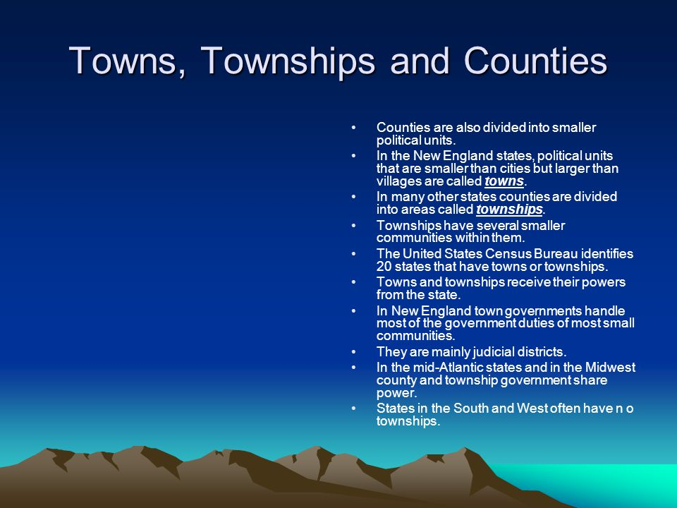 Towns, Townships and Counties
