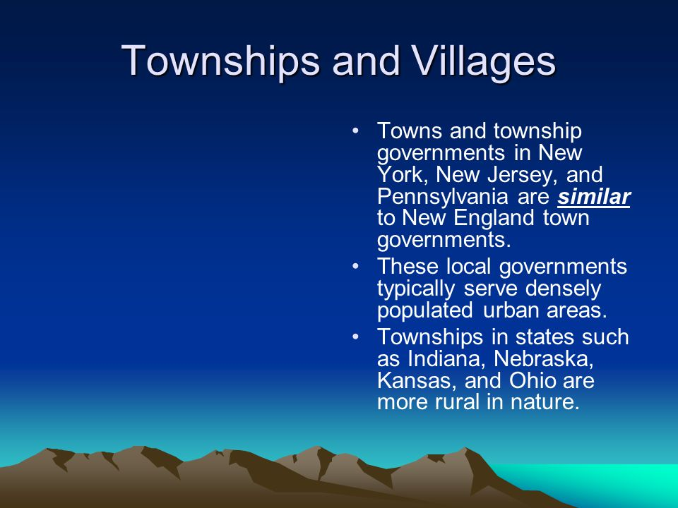 Townships and Villages