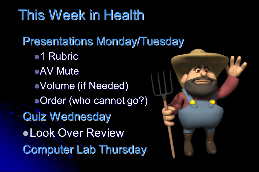 This Week in Health Quiz Wednesday Look Over Review