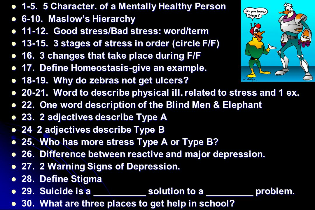 1-5. 5 Character. of a Mentally Healthy Person