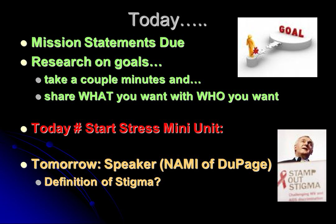 Today….. Mission Statements Due Research on goals…