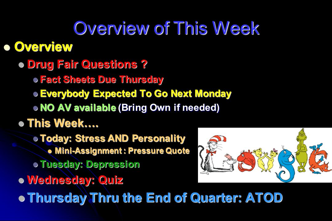 Overview of This Week Overview Thursday Thru the End of Quarter: ATOD
