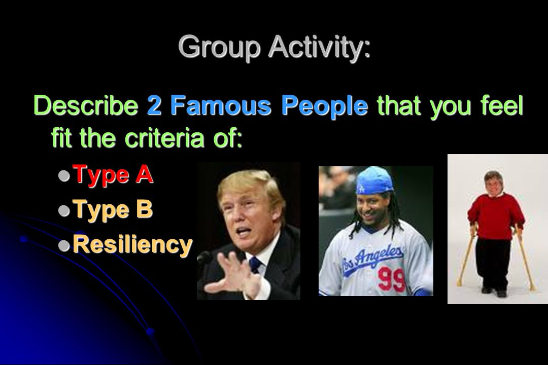 Group Activity: Describe 2 Famous People that you feel fit the criteria of: Type A.