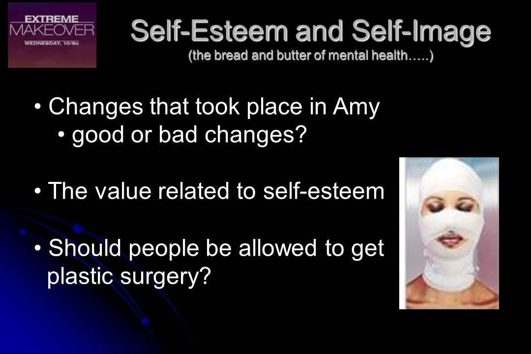 Self-Esteem and Self-Image (the bread and butter of mental health…..)