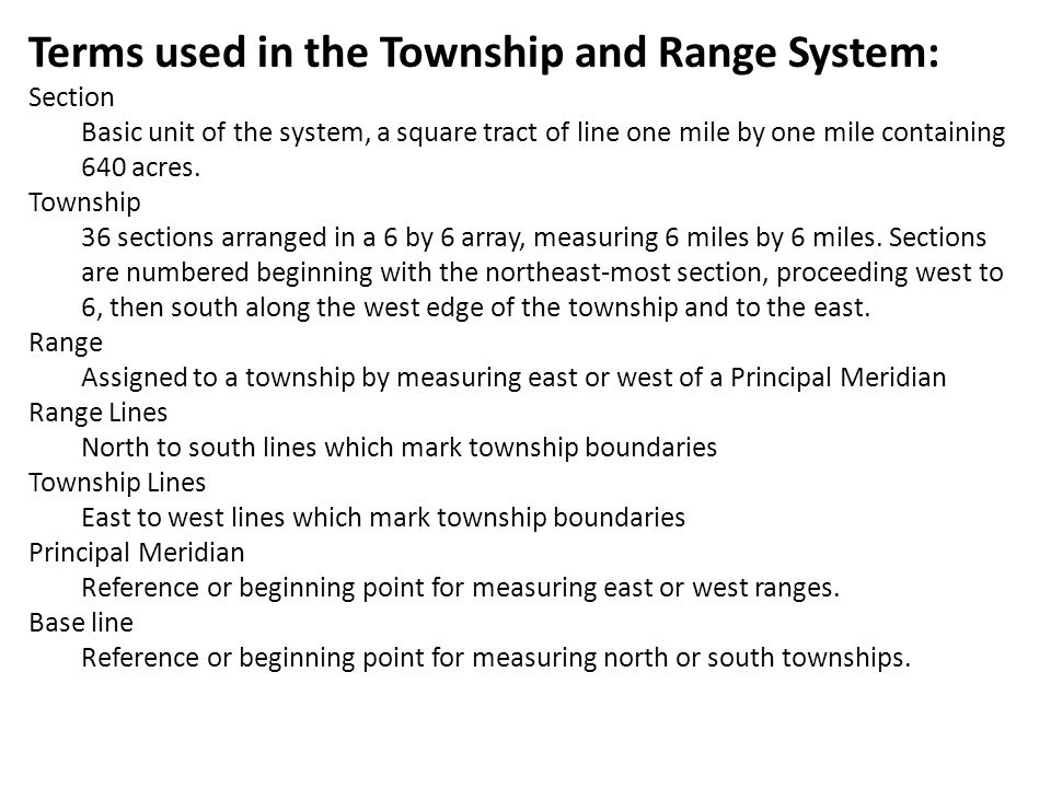 Terms used in the Township and Range System: