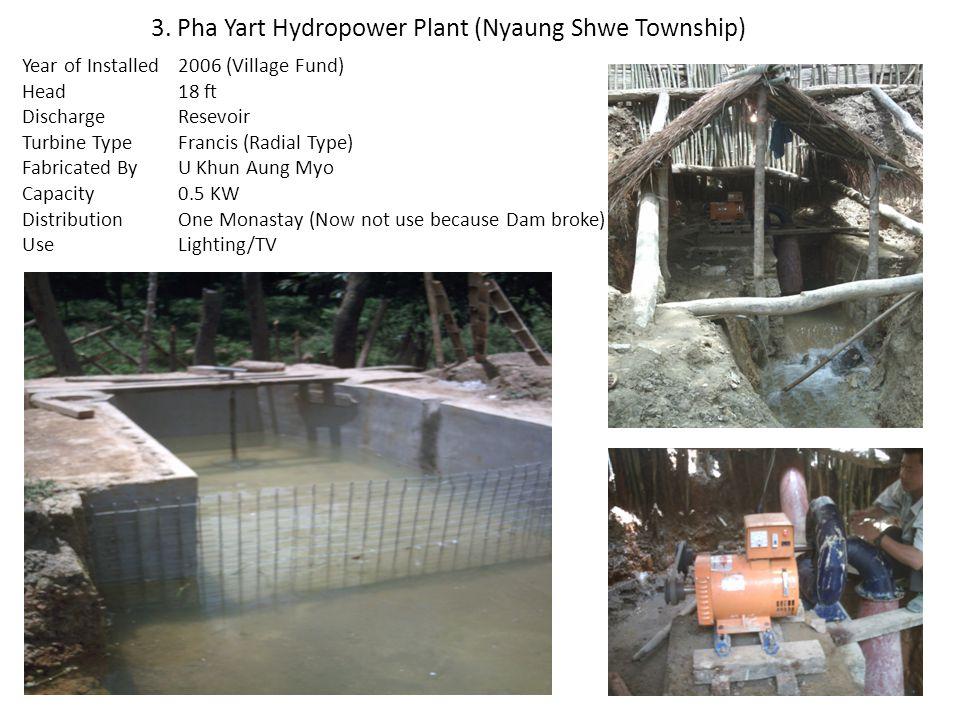 3. Pha Yart Hydropower Plant (Nyaung Shwe Township)