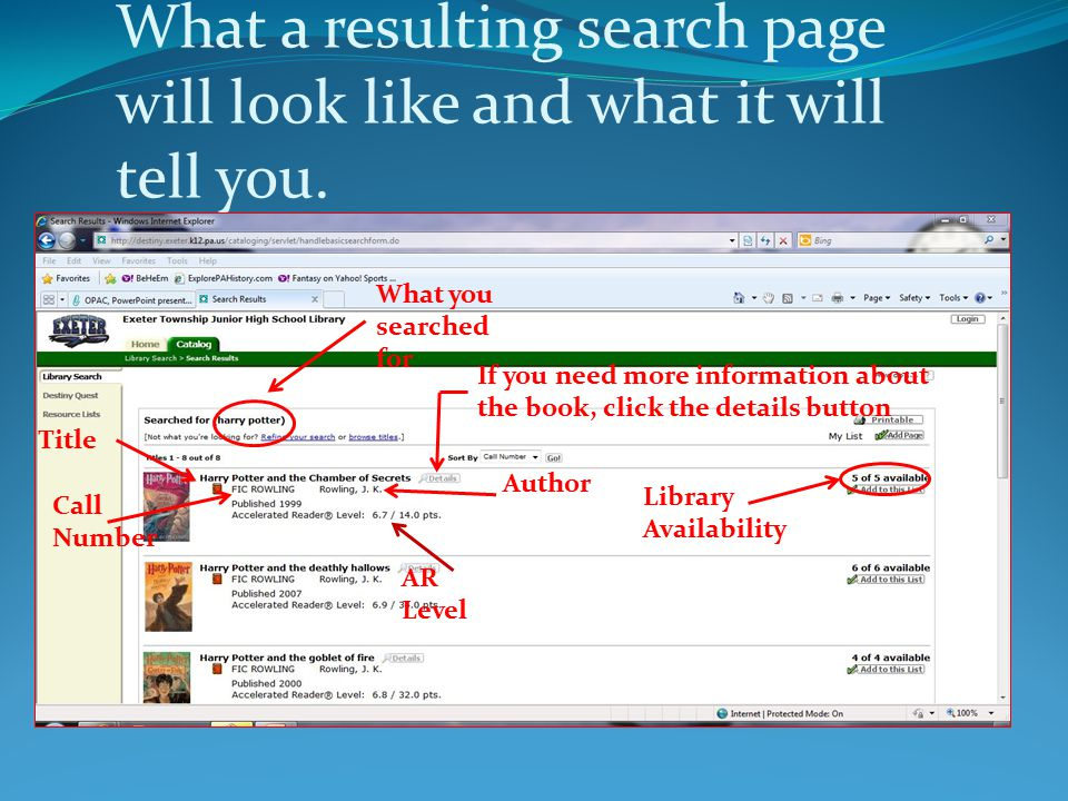 What a resulting search page will look like and what it will tell you.