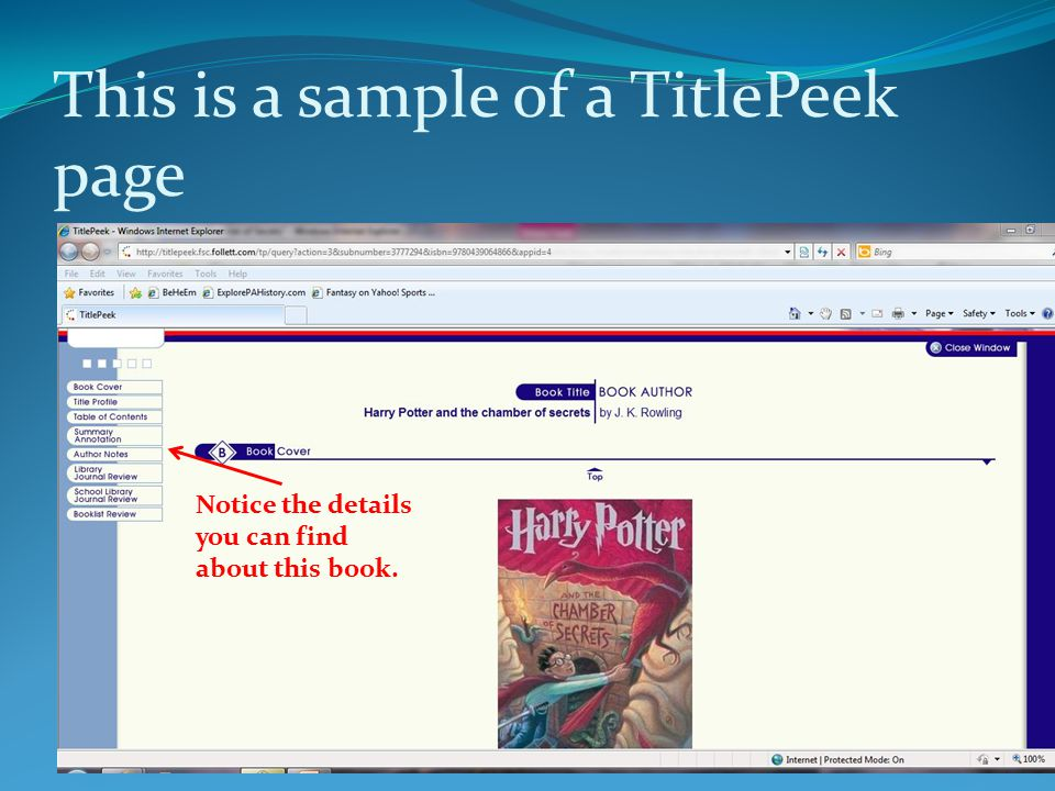 This is a sample of a TitlePeek page