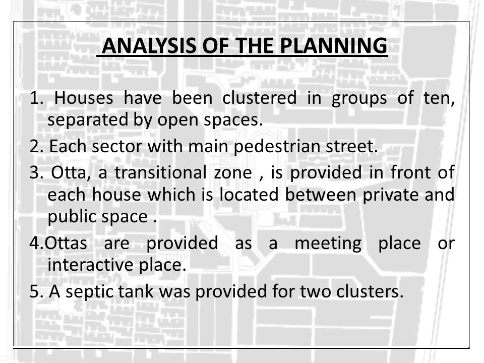 ANALYSIS OF THE PLANNING