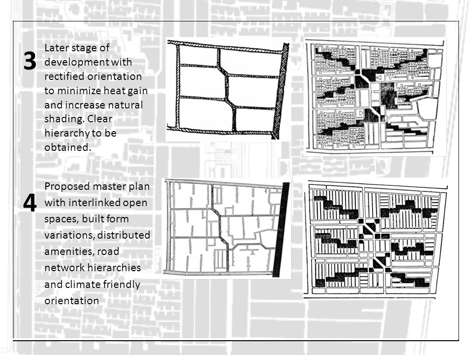 3 Later stage of development with rectified orientation to minimize heat gain and increase natural shading. Clear hierarchy to be obtained.
