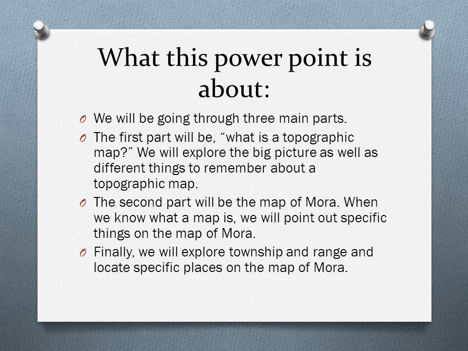 What this power point is about: