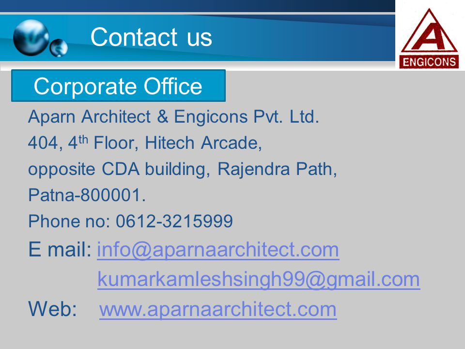 Contact us Corporate Office E mail: info@aparnaarchitect.com