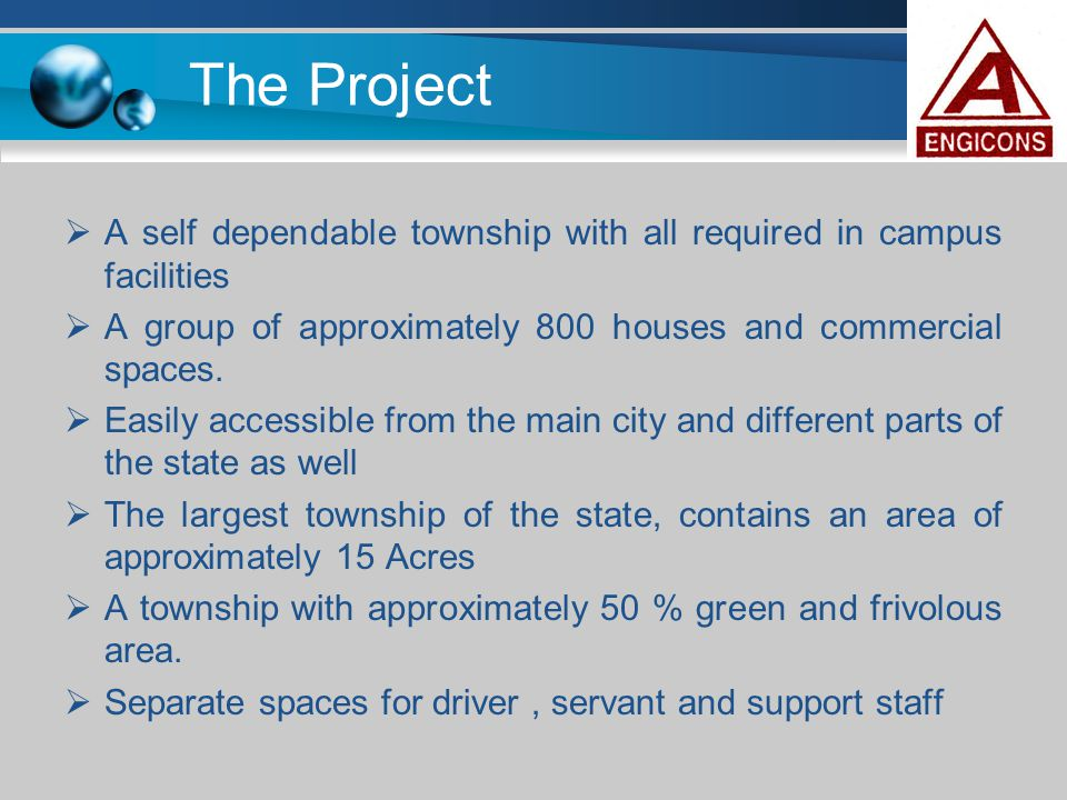 The Project A self dependable township with all required in campus facilities. A group of approximately 800 houses and commercial spaces.