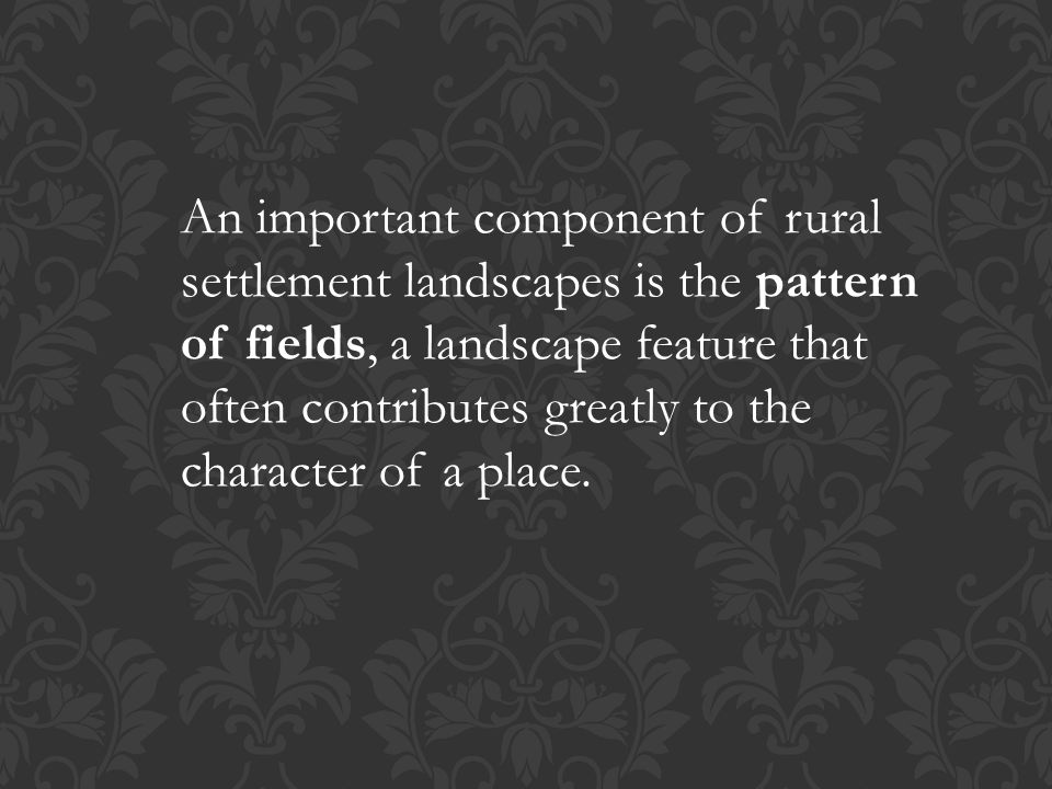 An important component of rural settlement landscapes is the pattern of fields, a landscape feature that often contributes greatly to the character of a place.