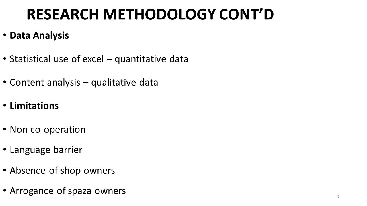 RESEARCH METHODOLOGY CONT'D