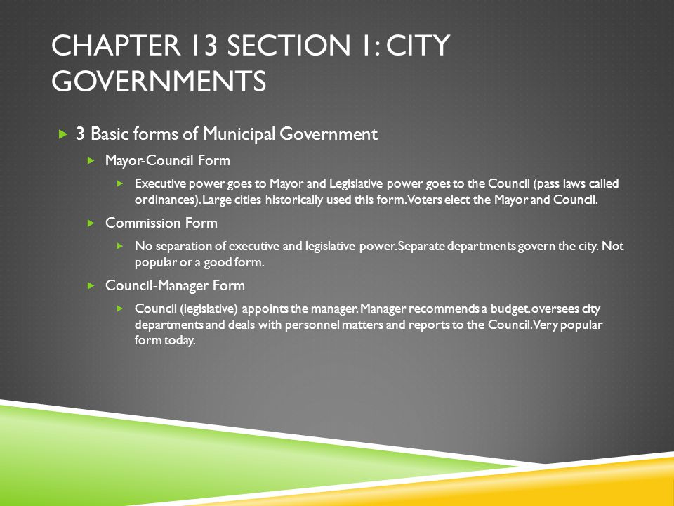 Chapter 13 section 1: city governments