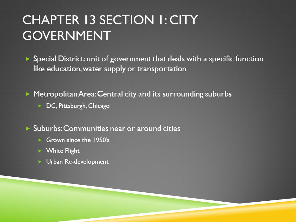 Chapter 13 section 1: City government