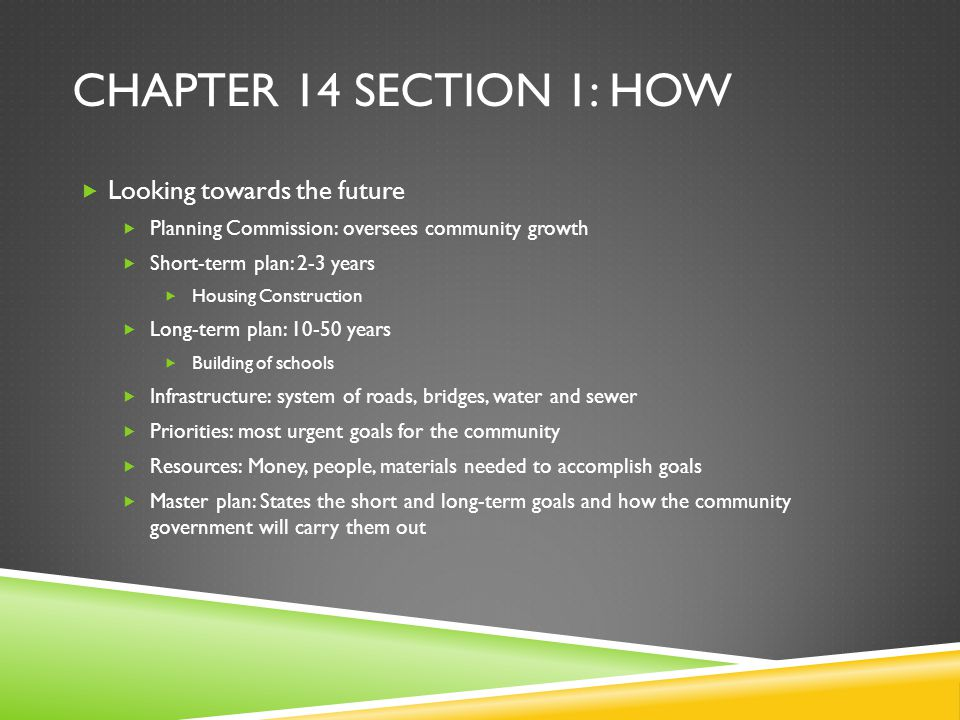 Chapter 14 section 1: How Looking towards the future
