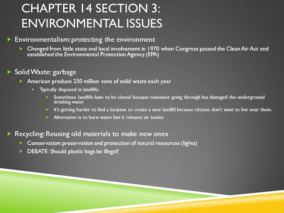Chapter 14 section 3: Environmental Issues