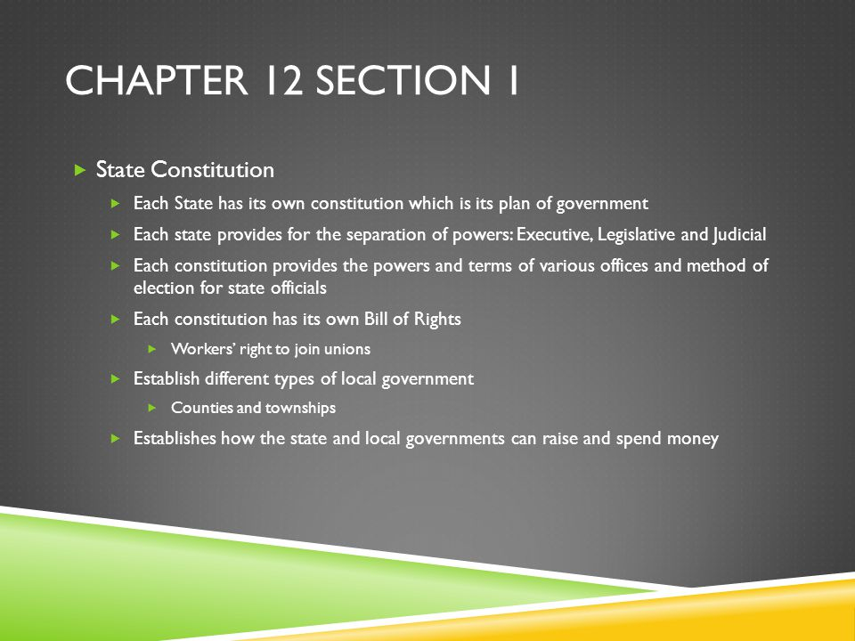 Chapter 12 Section 1 State Constitution