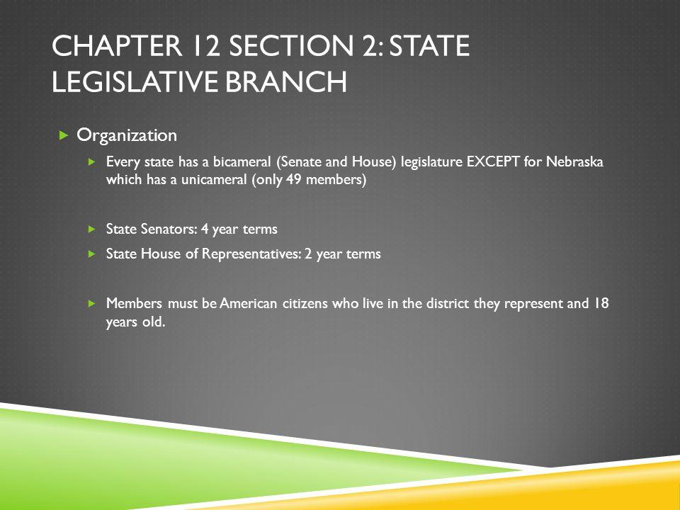 Chapter 12 Section 2: State legislative branch